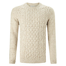 Buy John Lewis Frosty Cable Knit Crew Neck Jumper, Natural Online at johnlewis.com