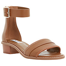 Buy Dune Jools Leather Block Heel Sandals, Tan Online at johnlewis.com