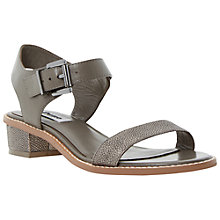 Buy Dune Jodey Leather Block Heel Sandals, Grey Online at johnlewis.com