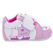 Buy Geox First Boat Print Rip-Tape Trainers, Pink/White Online at johnlewis.com