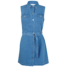Buy Miss Selfridge Petite Sleeveless Utility Dress, Mid Wash Online at johnlewis.com