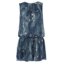 Buy Karen Millen Dark Denim Print Playsuit, Blue Online at johnlewis.com