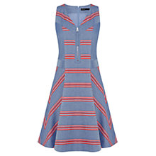 Buy Karen Millen Engineered Stripe Chambray Dress, Blue Multi Online at johnlewis.com