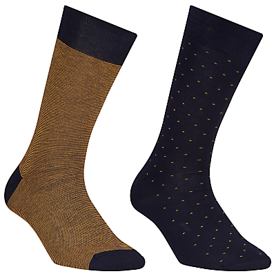 John Lewis Stripe and Dot Egyptian Cotton Socks, Pack of 2