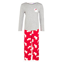 Buy John Lewis Scotty Dog Fleece Pyjama Set, Grey/Red Online at johnlewis.com