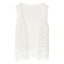 Buy Mango Kids Girls' Fringed Open Gilet, Light Beige Online at johnlewis.com