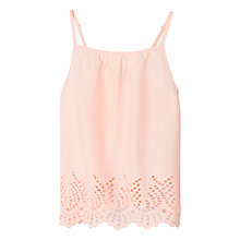 Buy Mango Kids Girls' Cotton Broderie Anglaise Top, Pastel Orange Online at johnlewis.com