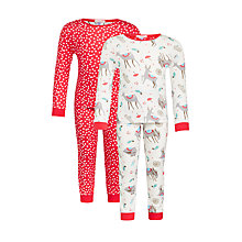 Buy John Lewis Girls' Christmas Reindeer Pyjama Set, Pack of 2, Red/Cream Online at johnlewis.com