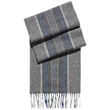 Buy Tommy Hilfiger Wool Striped Scarf, Silver Fog Heather Online at johnlewis.com