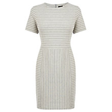 Buy Warehouse Ottoman Stripe Dress, Grey Online at johnlewis.com