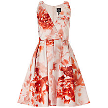 Buy Adrianna Papell Floral Halter Dress, Coral/Multi Online at johnlewis.com