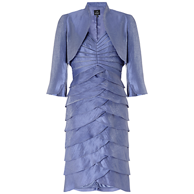 Adrianna Papell Shutter Pleated Dress With Jacket, Steel Blue