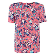 Buy Oasis Bird Rose Print T-Shirt, Coral Online at johnlewis.com