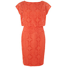 Buy Adrianna Papell Medallion Lace Blouson Dress, Tangerine Online at johnlewis.com