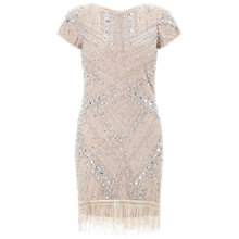 Buy Aidan Mattox Short Sleeve Beaded Cocktail Dress, Champagne Online at johnlewis.com