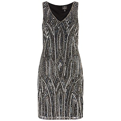 Adrianna Papell Beaded Cocktail Dress BlackGrey £250.00 AT vintagedancer.com