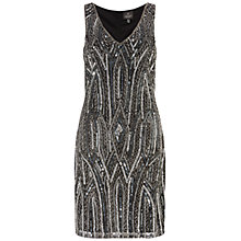 Buy Adrianna Papell Beaded Cocktail Dress, Black/Grey Online at johnlewis.com