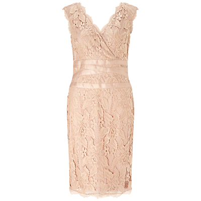 Adrianna Papell Sleeveless Banded Lace Dress Doe £98.00 AT vintagedancer.com
