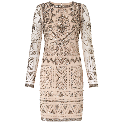 Adrianna Papell Long Sleeve Dress Light Blush £270.00 AT vintagedancer.com