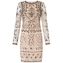Buy Adrianna Papell Long Sleeve Dress, Light Blush Online at johnlewis.com