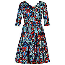 Buy Jolie Moi Floral Scalloped V Neck Dress, Navy/Multi Online at johnlewis.com