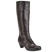 Buy Gabor Ceylon Leather Knee High Boots, Black Online at johnlewis.com