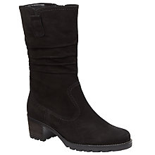 Buy Gabor Dunmow Nubuck Block Heel Calf Boots, Black Online at johnlewis.com