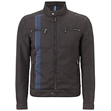 Buy Hackett London Aston Martin Racing Stripe Biker Jacket, Black Online at johnlewis.com