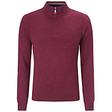 Buy Hackett Lambswool Half Zip Jumper, Berry Online at johnlewis.com
