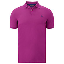 Buy Polo Golf by Ralph Lauren Solid Refined Stretch Mesh Polo Shirt, Bright Fuchsia Online at johnlewis.com