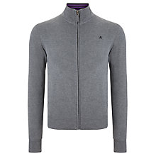 Buy Hackett London Zip Through Jersey Top, Grey Online at johnlewis.com