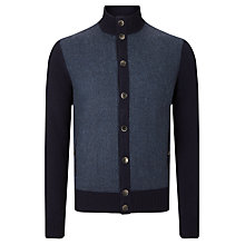 Buy Hackett London Tweed Front Cardigan, Navy Online at johnlewis.com
