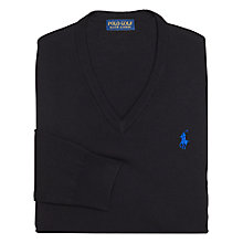 Buy Polo Golf by Ralph Lauren Long Sleeve V-Neck Jumper, Polo Black Online at johnlewis.com