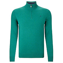 Buy Hackett London Half Zip Lambswool Jumper, Sea Green Online at johnlewis.com