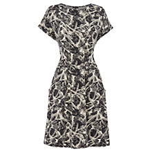 Buy Warehouse Leaf Print Pocket Dress, Black Online at johnlewis.com