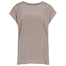 Buy Reiss Silk Front Jersey Top, Mink Online at johnlewis.com