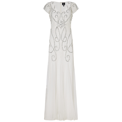 Adrianna Papell Wedding Short Sleeve Beaded Gown Ivory £400.00 AT vintagedancer.com