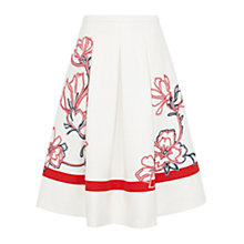 Buy Karen Millen Colourful Floral Ribbon Skirt, White / Multi Online at johnlewis.com