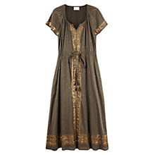 Buy East Sequin Cotton Dress, Khaki Online at johnlewis.com