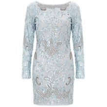 Buy Aidan Mattox Long Sleeve Beaded Cocktail Dress, Ice Blue Online at johnlewis.com