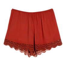 Buy Mango Flowy Crochet Shorts, Medium Orange Online at johnlewis.com