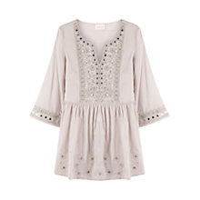 Buy East Mirror Work Cotton Tunic Top, Smoke Online at johnlewis.com