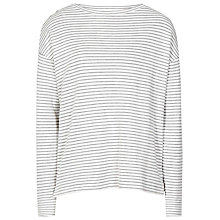 Buy Reiss Striped Jersey Top, White/Blue Online at johnlewis.com