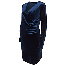 Buy Mamalicious Mona Velvet Wrap Maternity Dress, Blue Online at johnlewis.com