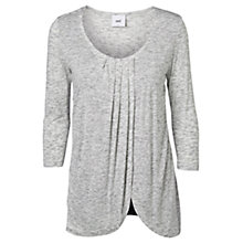 Buy Mamalicious Jersey Pleated Three-Quarter Sleeve Nursing Top, Grey Online at johnlewis.com