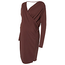 Buy Mamalicious Mimi Long Sleeve Wrap Maternity Dress, Burgandy Online at johnlewis.com