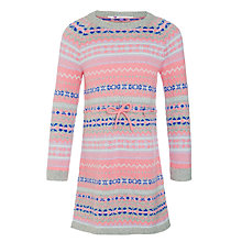 Buy John Lewis Girls' Knit Fair Isle Dress, Pink/Grey Online at johnlewis.com