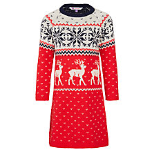 Buy John Lewis Girls' Christmas Knit Dress, Red Online at johnlewis.com