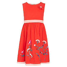Buy John Lewis Girls' Cord Embroidered Prom Dress, Red Online at johnlewis.com