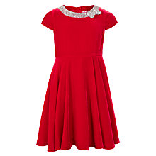 Buy John Lewis Girls' Velvet Dress With Bow, Red Online at johnlewis.com